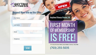 Anytime Fitness splash page design